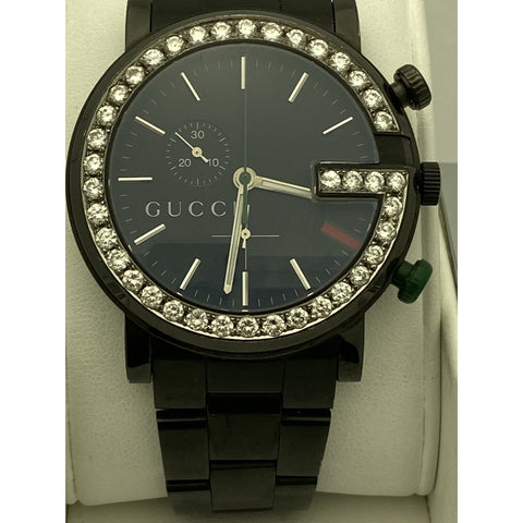 Gucci Men's 2.00CT. 39 RDS Bezel Black Dial Black Stainless Steel Watch 101M