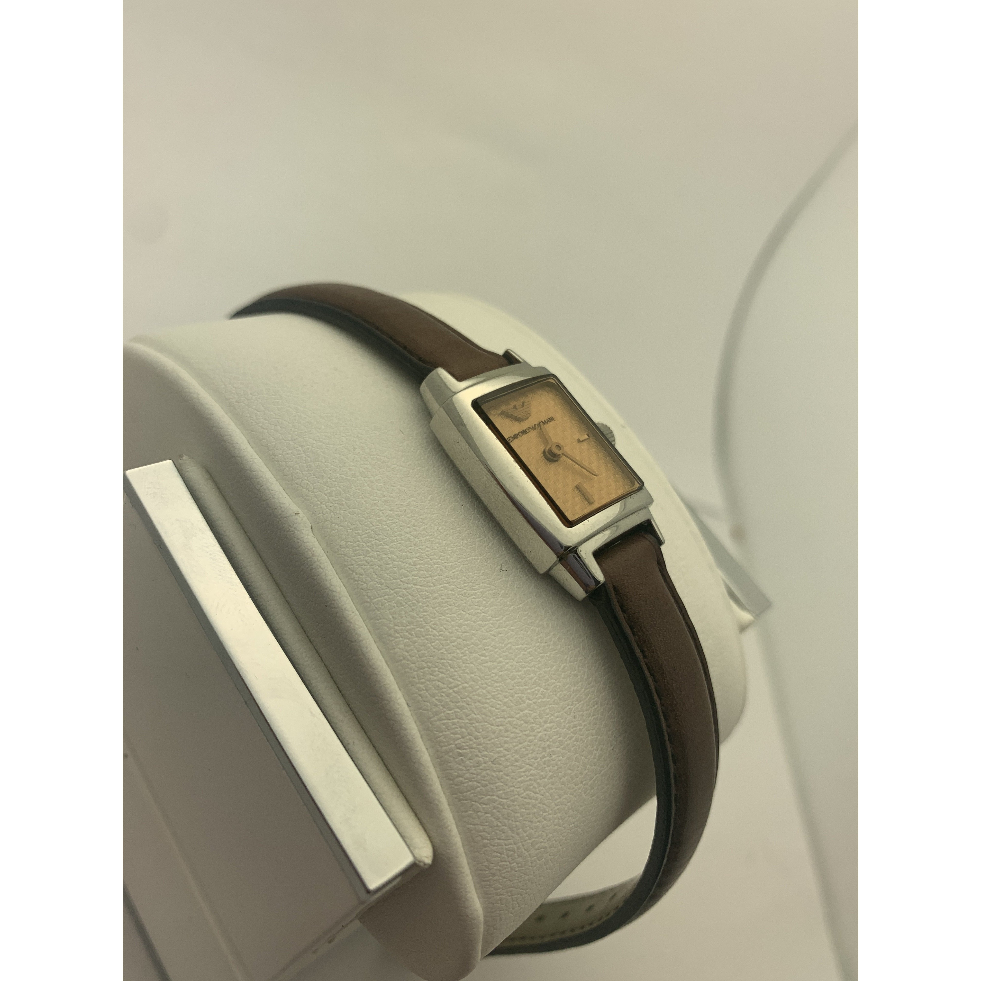 Emporio Armani Ladies Bronze Dial Brown Genuine Leather Strap Watch AR5507