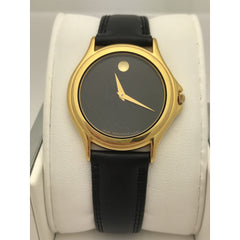 Movado Unisex Swiss Made Black Museum Dial Black Leather Band Watch 0690300