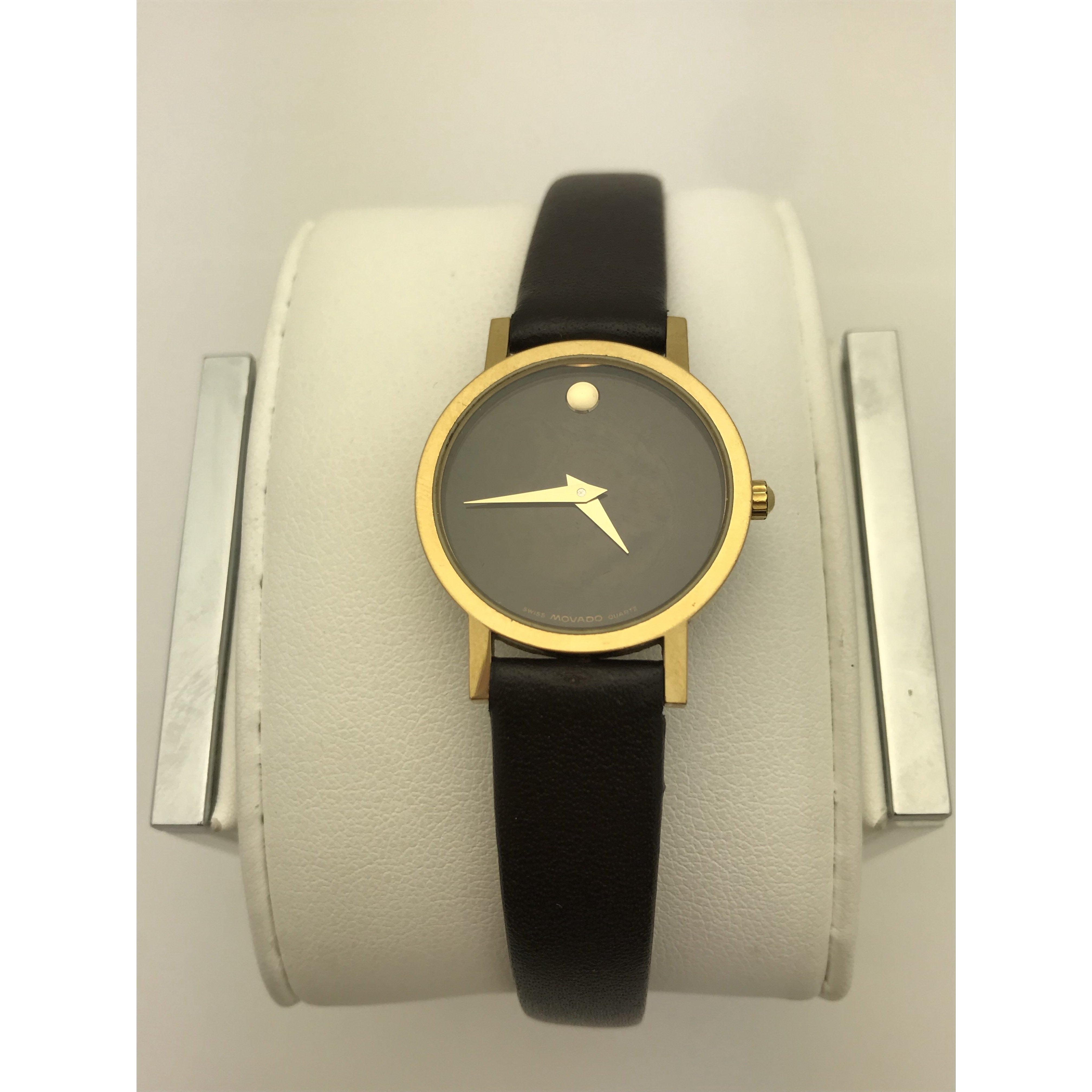 69370733e Movado Ladies Swiss Made Black Museum Dial Black Leather Band Watch 0690574