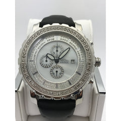 Freeze Men's Stainless Steel 2.00CT. Diamonds Crystal Chrono Dial Watch F6088