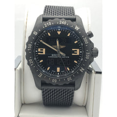 Breitling Airwolf All Black Mesh Band Digital and Analog Display Mens Watch M78366