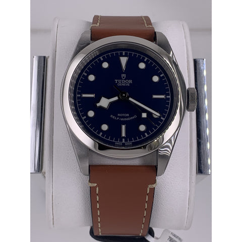 Tudor Geneve Black Bay 41 Rotor Self-Winding Blue Dial Brown Leather Strap Watch M79540-0005