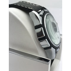 Montres Carlo Men's White Dial Black Leather Strap Watch 28143