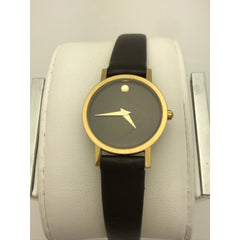 Movado Ladies Swiss Made Black Museum Dial Black Leather Band Watch 0690574