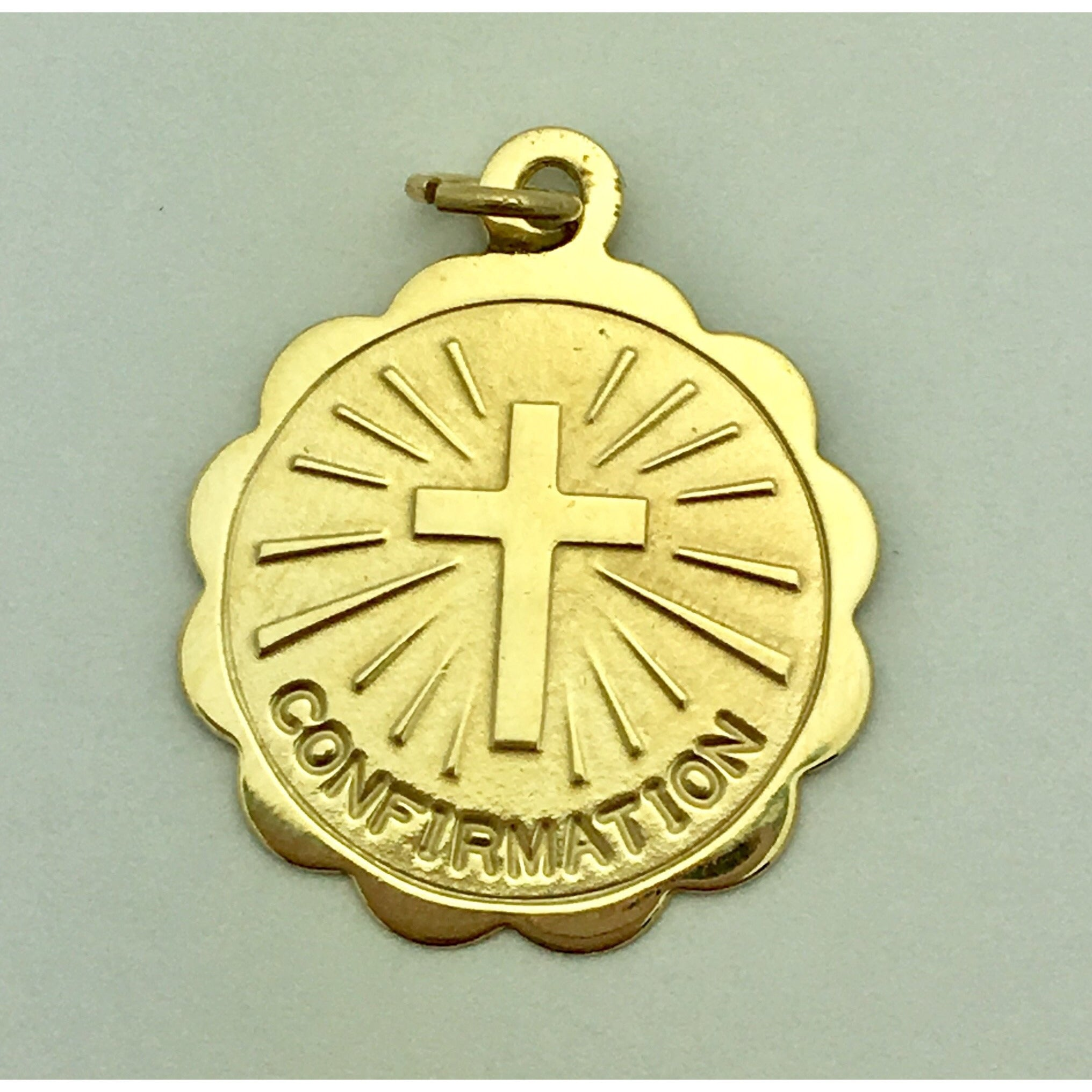 CHARJ008 14K Yellow Gold Confirmation Cross Charm