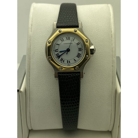 Cartier Ladies White Dial Black Leather Strap Automatic Watch 090734255