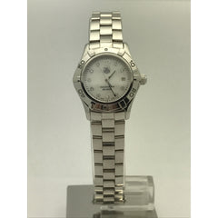 TAG HEUER Stainless Steel Aquaracer Mother Of Pearl Diamond Dial Quartz Ladies Watch WAF1415