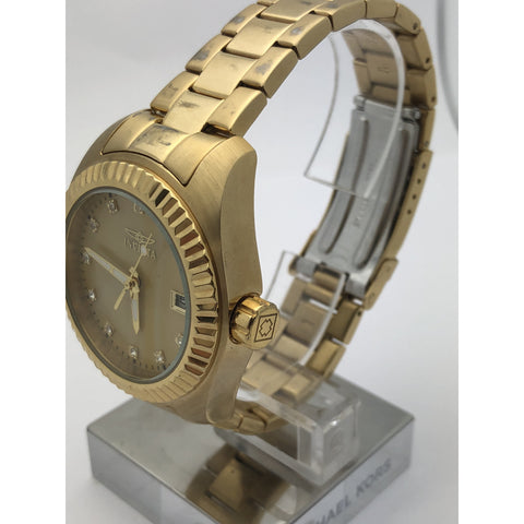 Invicta Ladies Gold Tone Stainless Steel Case and Band Watch 20352