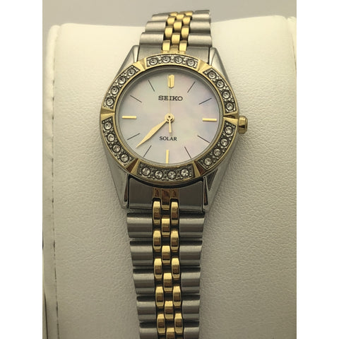 SZ Seiko Ladies Mother of Pearl Dial Two Tone Stainless Steel Case Watch 371205