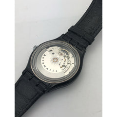 Swatch Unisex Black Case and Black Leather Watch EAS0112