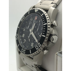 Victorinox Black Dial Silver Tone Stainless Steel Bracelet Mens Watch 24144.1