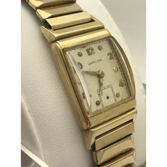 Hamilton Unisex 14K Gold Case Yellow Gold Tone Stretch Band Watch