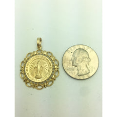 CHAR011 14K YELLOW GOLD VIRGIN MARY PENDANT