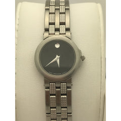 Movado Ladies Black Museum Dial Stainless Steel Bracelet Watch 0603688