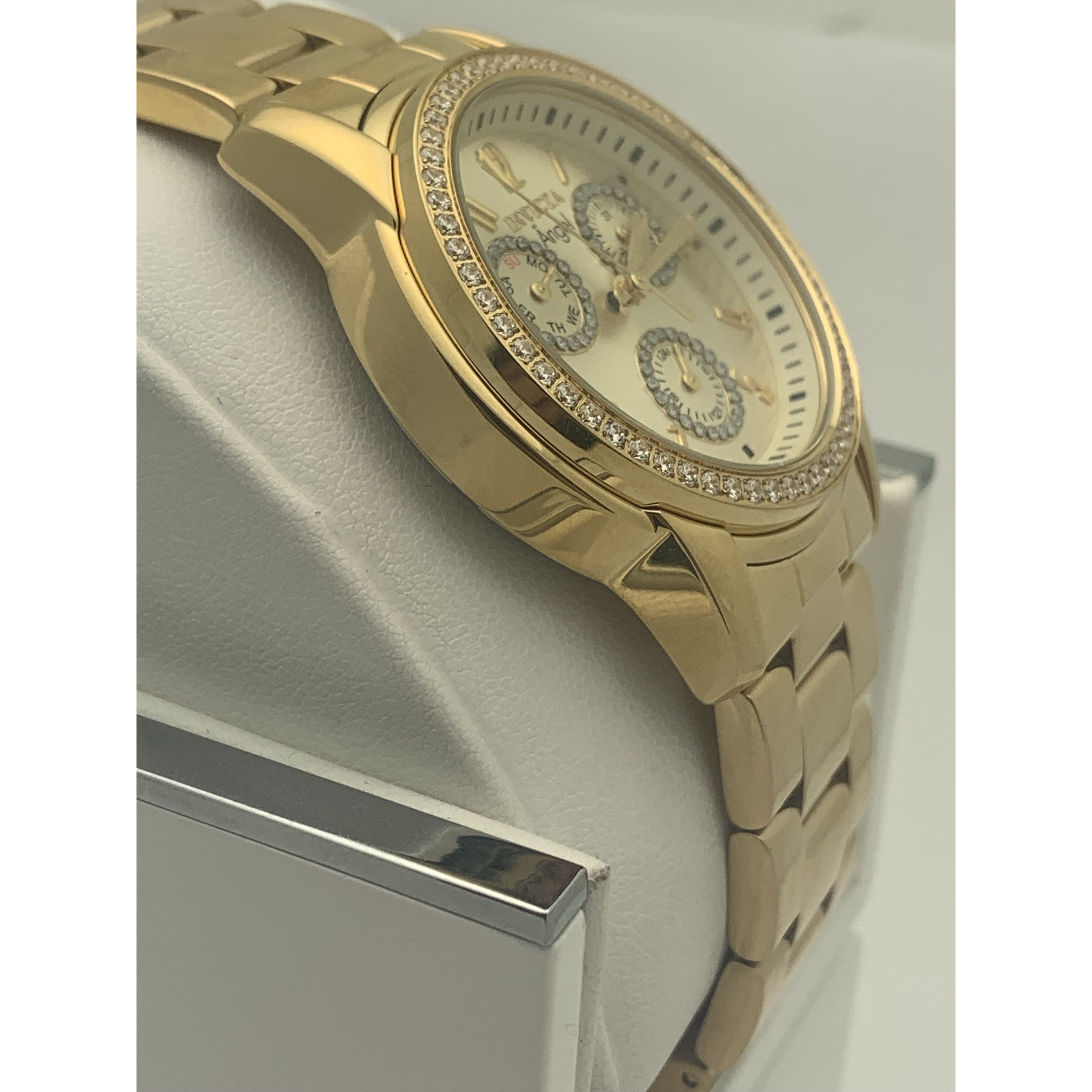Invicta Ladies Angel Champagne Dial Gold Tone Stainless Steel Watch 18990