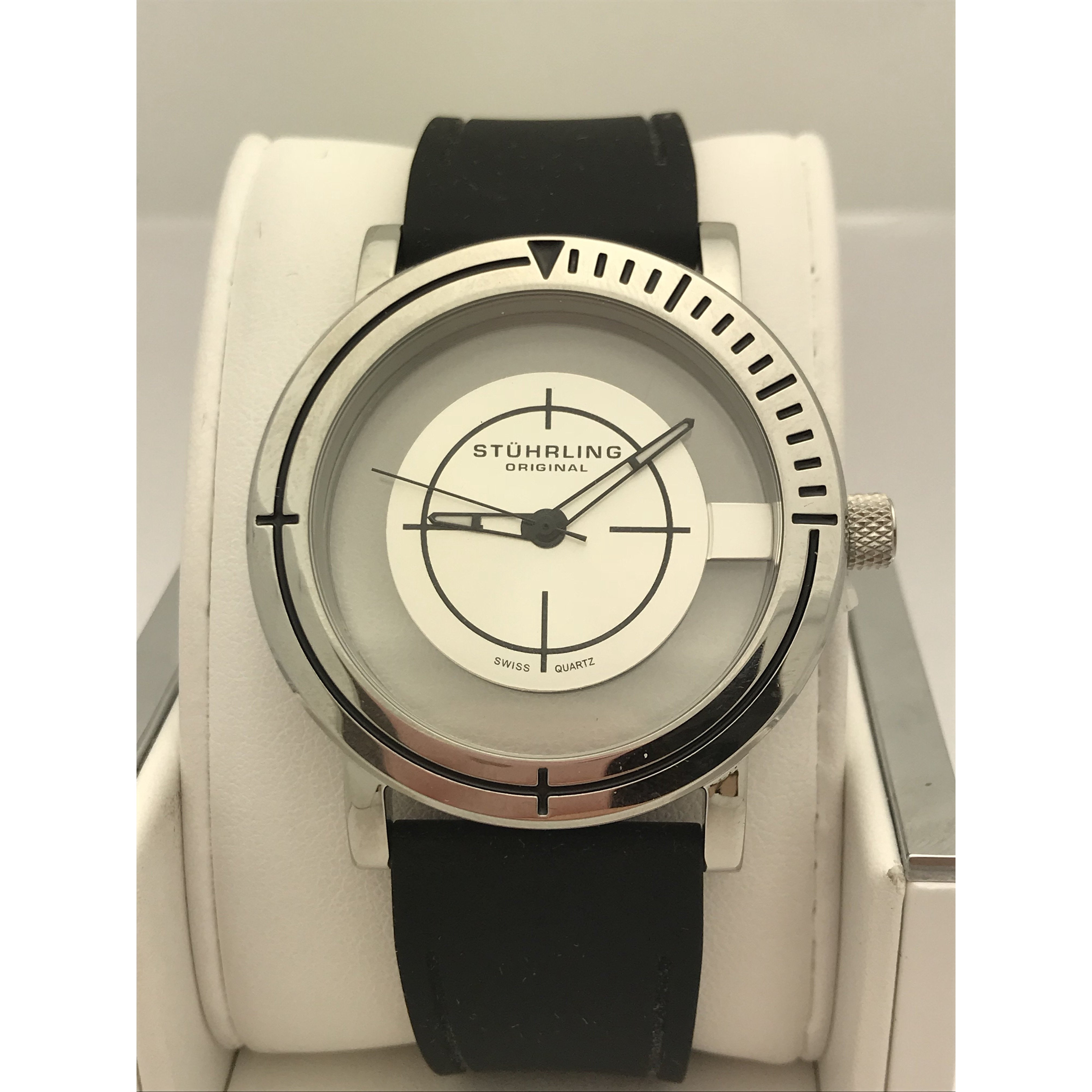 Stuhrling Men S Clear Case Black Silicone Band Watch 87901 Eli