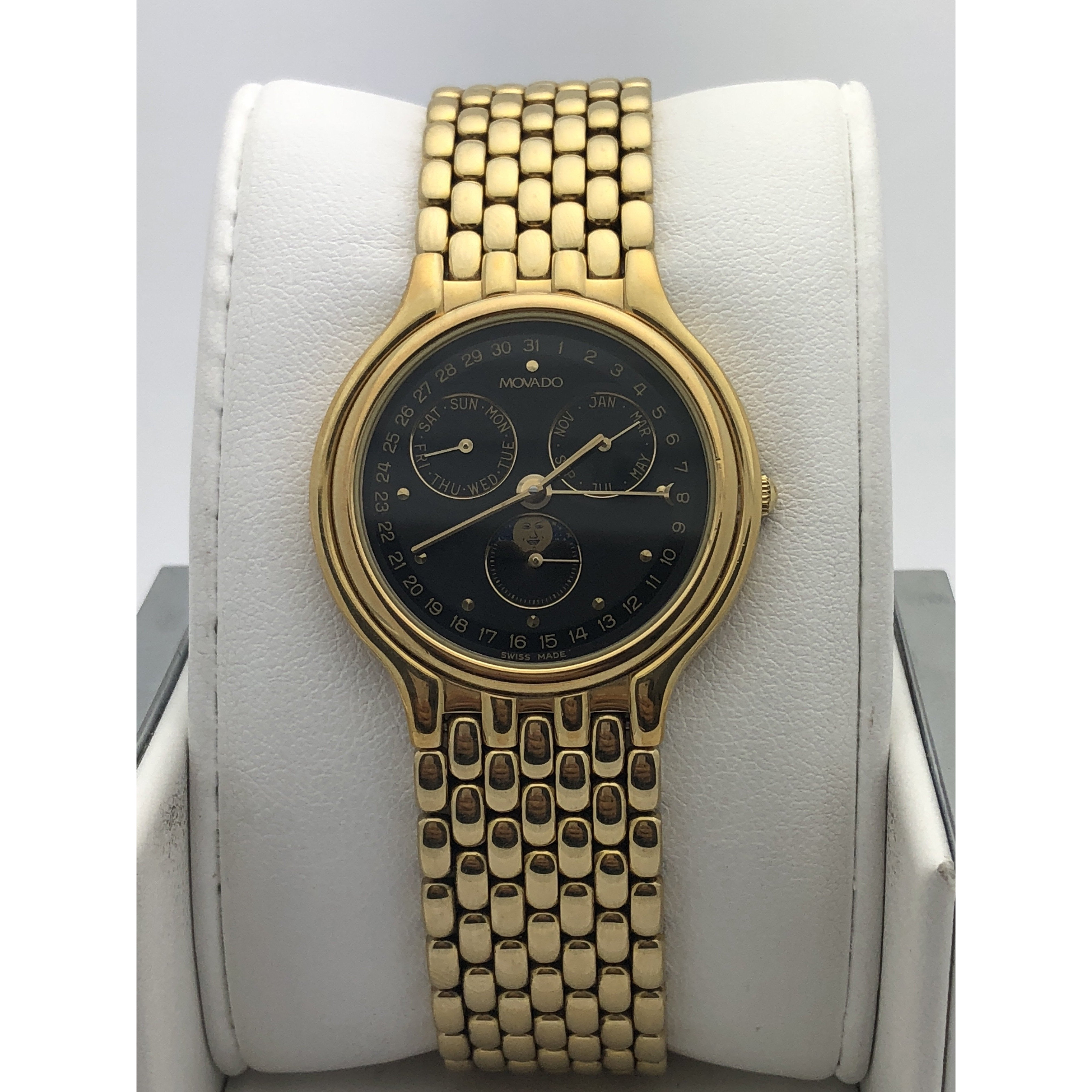 12bad66fcc2 Movado Ladies Moon Phase Black Dial Gold Tone Stainless Steel Watch 468203