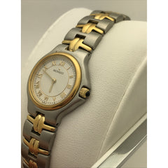 Movado Ladies White Dial Two Tone Stainless Steel Bracelet Watch 0603917