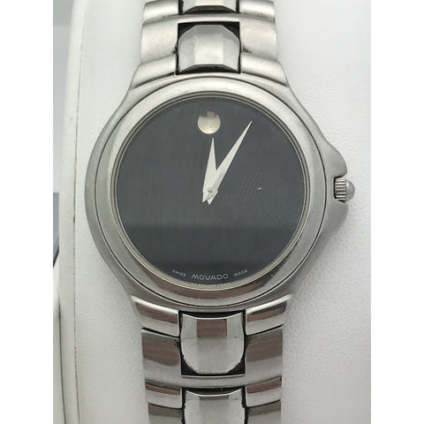 Movado Men's Swiss Made Black Dial Stainless Steel Watch 0691018