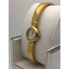 Anne Klein Ladies White Mother of Pearl Dial Gold Tone Bracelet Watch 753