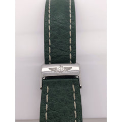 Breitling Green Leather Strap Stainless Steel Deployment Clasp 22-20mm 322X