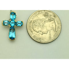 CHARJ035 14K Yellow Gold Blue Stoned Cross Charm