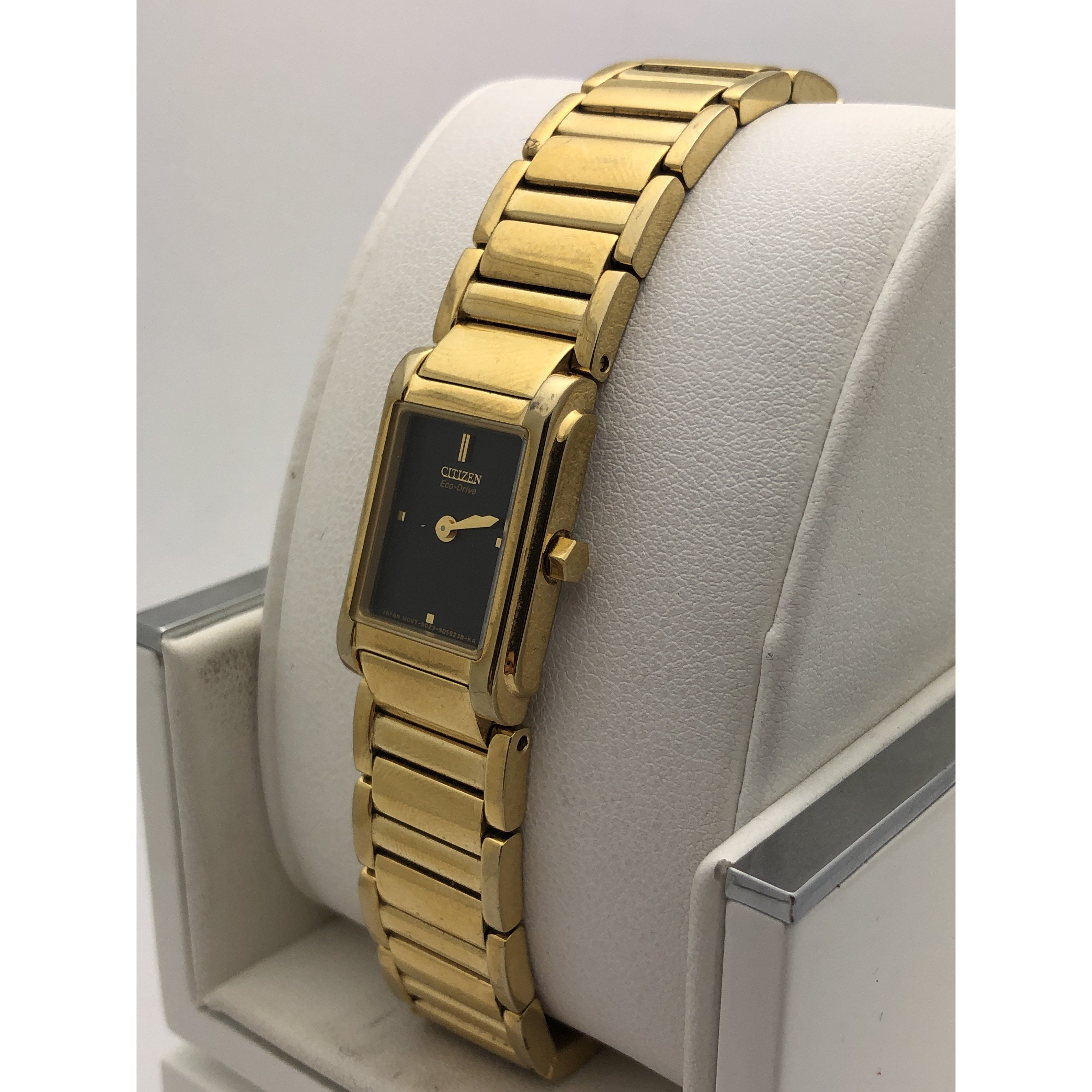 Citizen Ladies Black Dial Gold Stainless Steel Bracelet Watch 650127