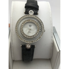 EJ Ladies Quartz Mother of Pearl Dial Black Band Watch 377
