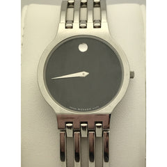 Movado Ladies Museum Black Dial Stainless Steel Watch 0603954