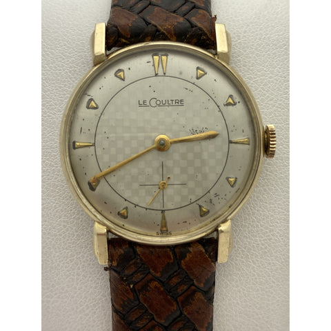 Le Coultre Vintage Swiss Sub Second 10K Gold Filled Mechanical Brown Leather Strap Watch