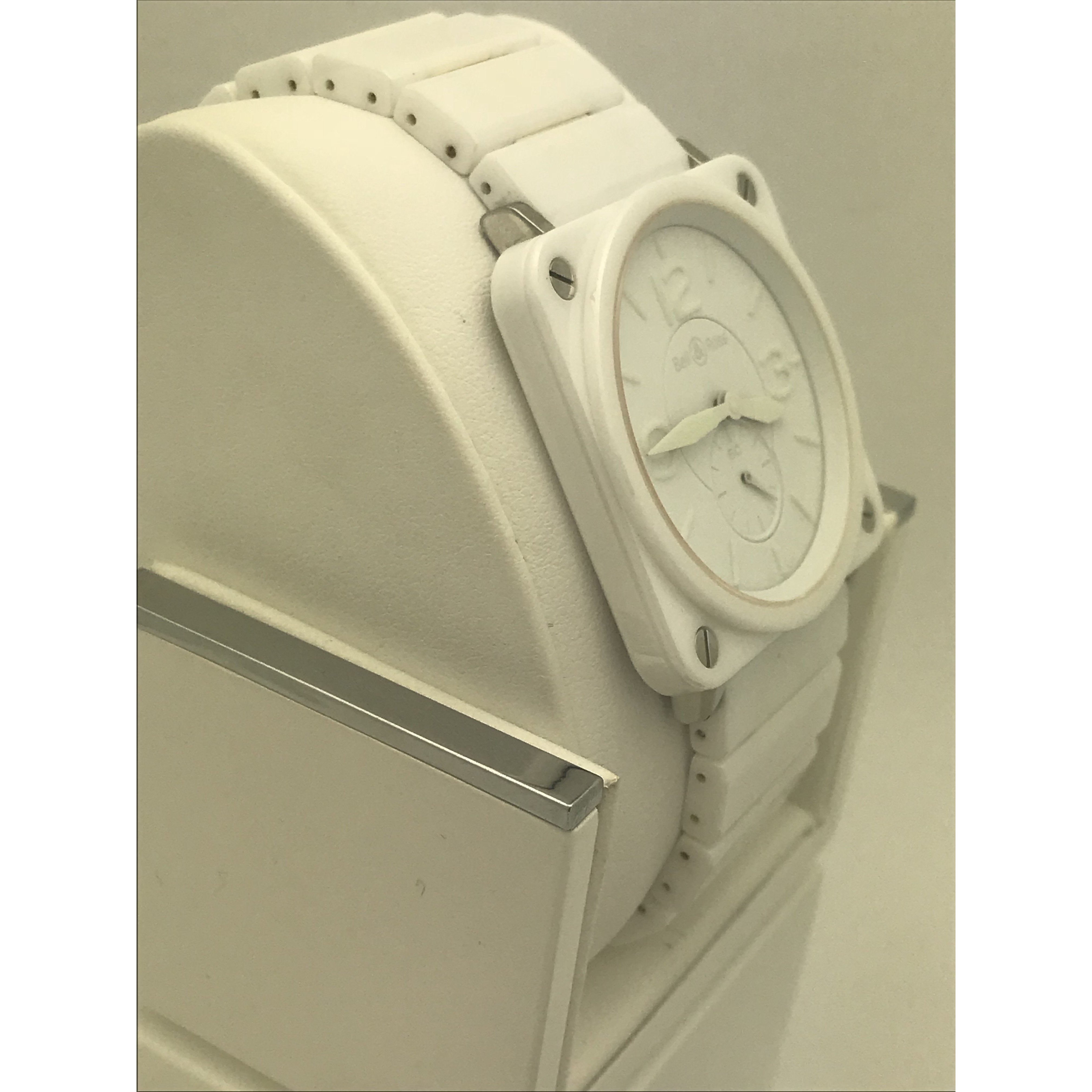 Bell & Ross White Dial White Ceramic Band Watch BRS-98-PWC-00839