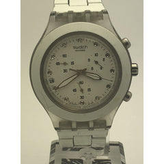 Swatch Swiss Women's White Dial White Band Watch 155V
