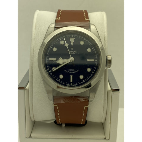 Tudor Geneve Black Bay 41 Rotor Self-Winding Black Dial Brown Leather Strap Watch M79540-0007