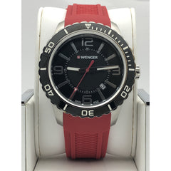 Wenger Black Dial Red Rubber Strap Mens Watch 0851.17