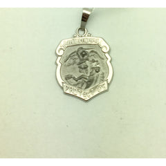 CHARJ002 14K White Gold Saint Michael Protect Us Charm