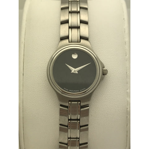 5978ec788 Movado Ladies Black Museum Dial Stainless Steel Bracelet Watch 0603466