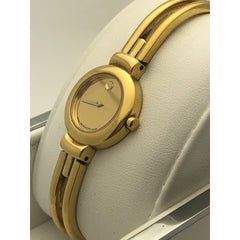 Movado Ladies Quartz Gold Dial Gold Tone Stainless Steel Watch 06044276