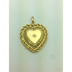 CHAR003 14K YELLOW GOLD LOCKET HEART PENDANT WITH A DIAMOND IN CENTER