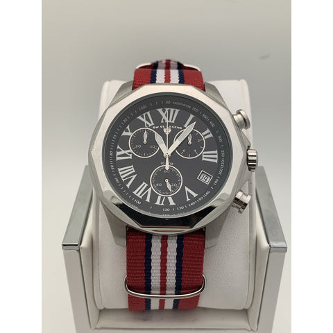 Swiss Legend Unisex Black Dial Red Striped Nylon Strap