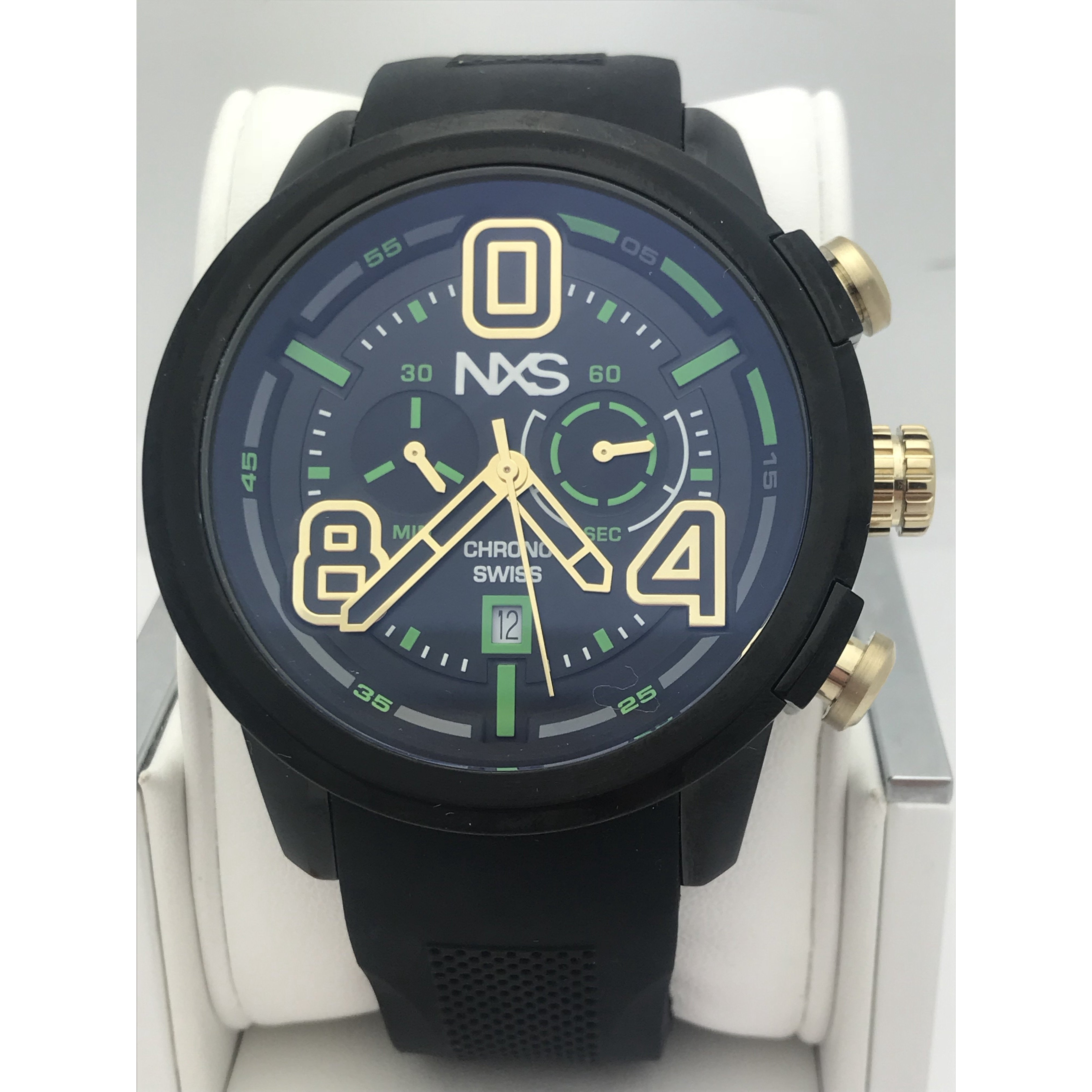 NXS Men's Pastrana Chrono Swiss Black Textured Silicone Watch 14102