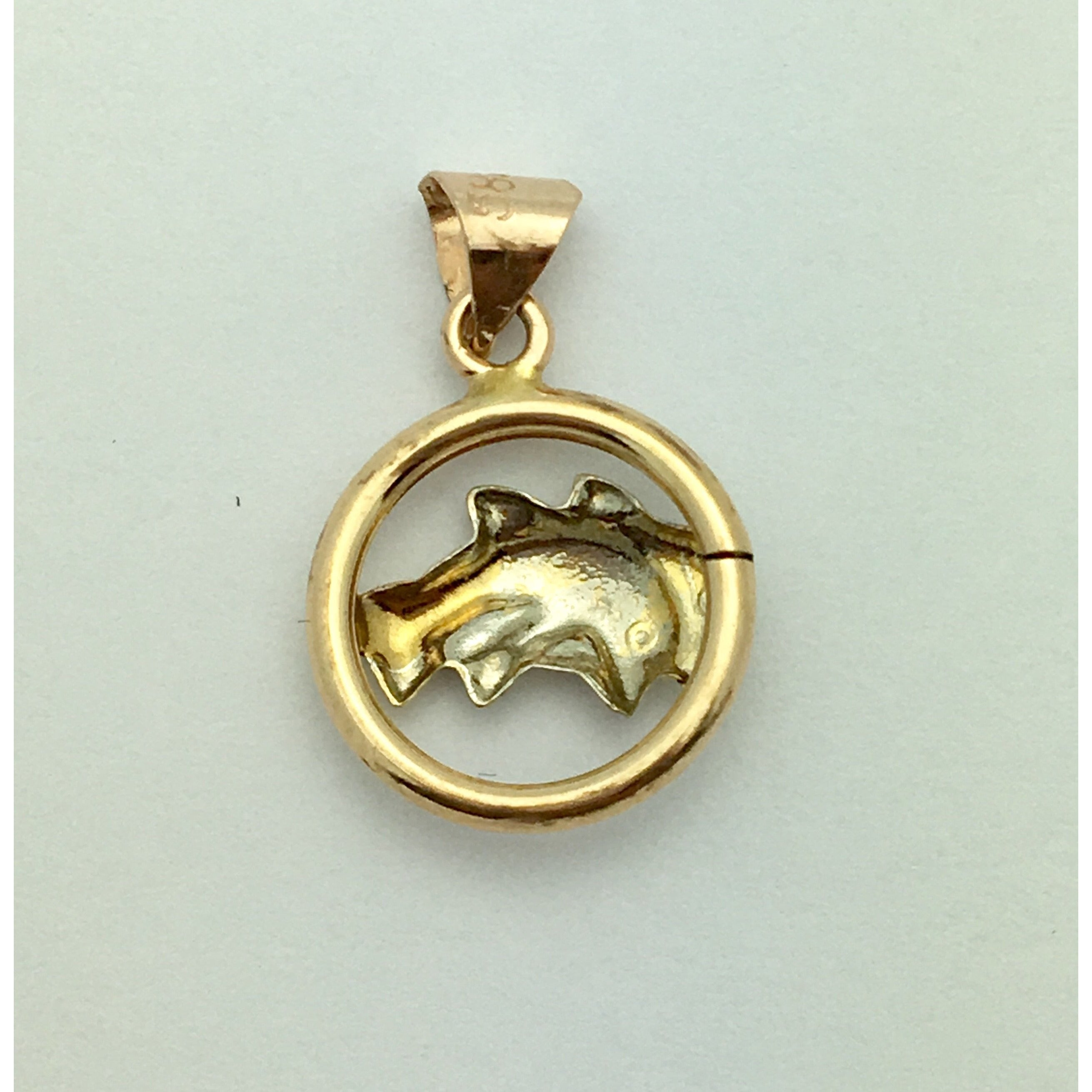 CHARJ020 14K Two Toned Gold Two Dolphins Charm