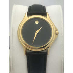 Movado Men's Black Museum Dial Black Oilskin Leather Band Watch 0690301