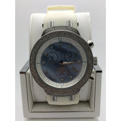 Joe Rodeo Men's Blue Mother of Pearl Dial White Rubber Band Watch JJM29