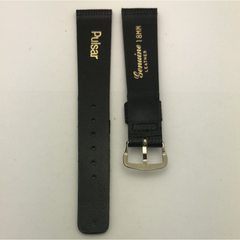 STPBL18MM001 Pulsar Black Genuine Leather Strap OEM With Stainless Steel Buckle