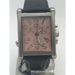 Akribos Men's Chronograph Pink Dial Black Leather Watch