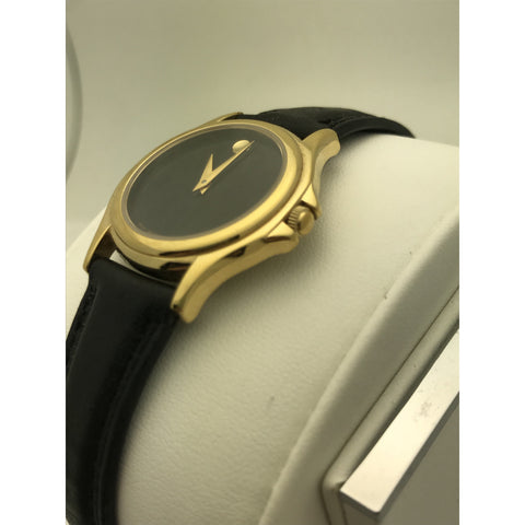 Movado Ladies Black Museum Dial Black Leather Band Watch 87 E4 0823