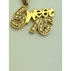 CHARJ030 14K Yellow Gold Sweet 16 with 22 Diamonds Charm
