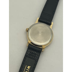 Wittnauer Ladies Gold Tone Dial Black Genuine Leather Band Watch