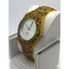 AND Ladies Silver Dial Leopard Print Bracelet Stainless Steel Case Watch 11019